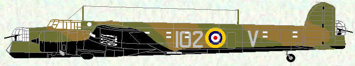 Whitley III of No 102 Squadron (early markings)