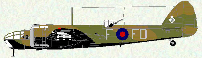 Bristol Blenheim IV of No 114 Squadron (coded FD) pre war