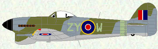 Typhoon IB of No 247 Squadron (early 1945)
