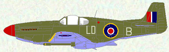 Mustang III of No 250 Squadron (overall olive drab)