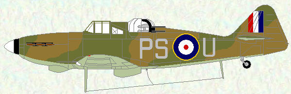 Defiant I of No 264 Squadron (day fighter scheme with non-standard roundals)