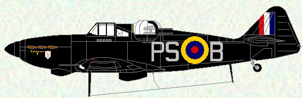 Defiant I of No 264 Squadron (flown by Sqn Ldr F D Hughes)