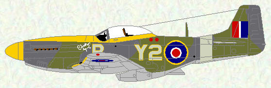 Mustang IV of No 442 Squadron (green/grey scheme)