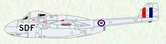 Vampire F Mk 1 of No 501 Squadron (Fighter Command codes)