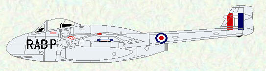 Vampire F Mk 1 of No 501 Squadron (Reserve Command codes)