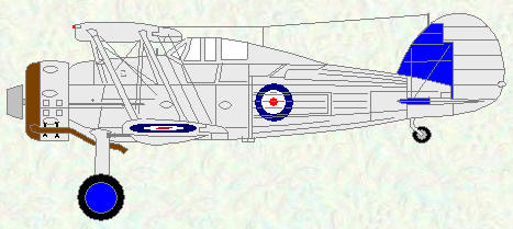 Gladiator I of No 72 Squadron (Silver scheme)