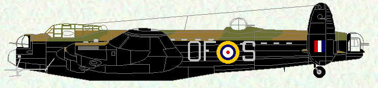 Lancaster 1 of No 97 Squadron (fitted with radar and enlarged bomb bay for trials with Capital Ships Bomb)