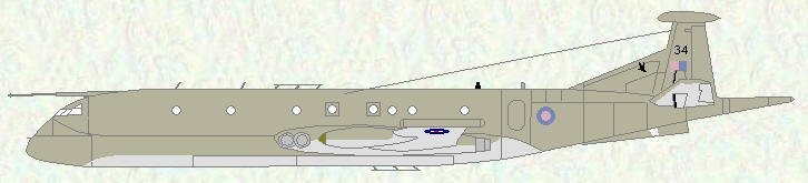 Nimrod MR Mk 2 of No 201 Squadron (Hemp/grey scheme) prior to th euse of pooled aircraft
