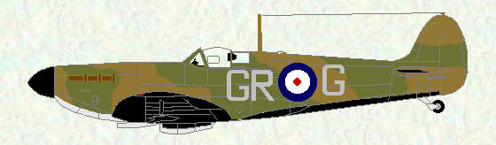 Spitfire I of No 92 Squadron (black/white undersurfaces - codes GR)