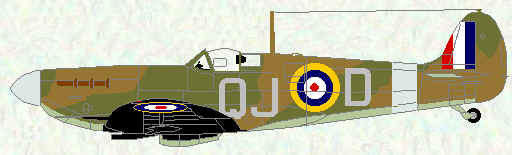 Spitfire IB of No 92 Squadron (coded QJ)