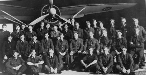 Photo of 276 Squadron personnel in front of a Lysander